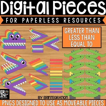 Digital Pieces for Digital Resources: Greater Than Less Than Gators (66 Pieces)