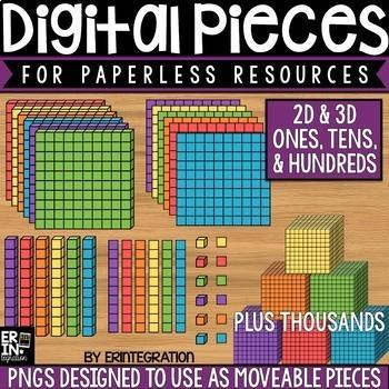 Digital Pieces for Digital Resources: Ones, Tens, Hundreds, Thousands Images