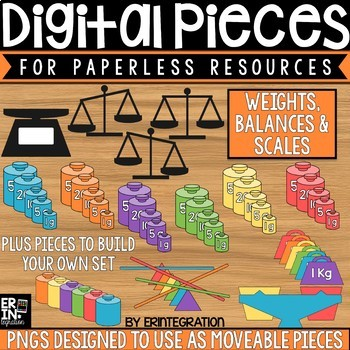 Digital Pieces for Digital Resources: Weights, Scales, Balances (58 Pieces)