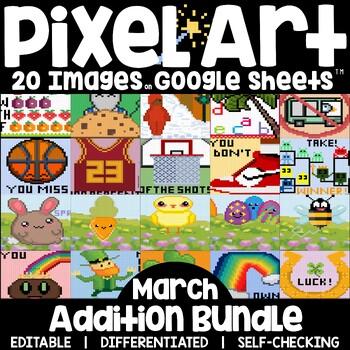 Google Sheets Digital Pixel Art Magic Reveal MARCH BUNDLE: ADDITION