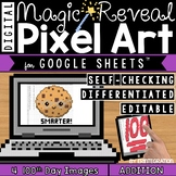 Digital Pixel Art for 100th Day of School: Magic Reveal ADDITION