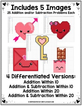 Valentines Day Digital Pixel Art Magic Reveal ADDITION
