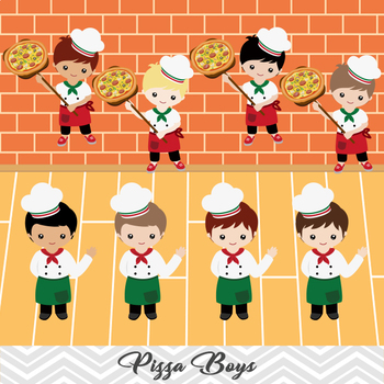Digital Pizza Boy Clip Art, Little Boy Chef Clip Art, Kid Pizza Party Clipart
