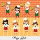 Digital Pizza Girl Clipart, Little Girl Chef Clip Art, Girl Pizza Party Clipart