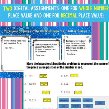Place Value Whole Numbers and Decimals Digital Activity