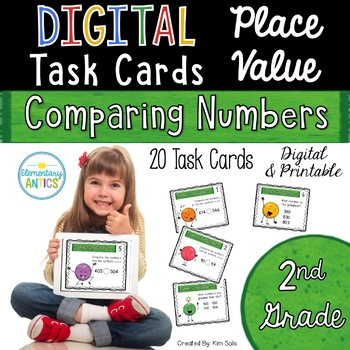 Digital Place Value Task Cards- Comparing Numbers
