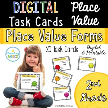 Digital Place Value Task Cards- Place Value Forms {2nd Grade}