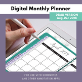 Digital Monthly Planner 2018