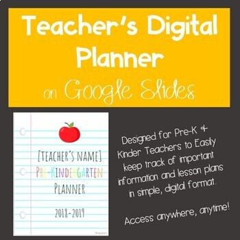 Digital Planner for Pre-K-1st on Google Slides