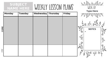 Digital Planning Page (1 Core class taught)