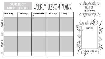 Digital Planning Page (2 Core Classes Taught)