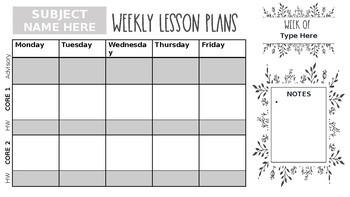 Digital Planning Page (2 Subjects taught + advisory)