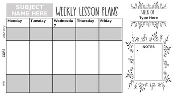 Digital Planning Page (1 subject + advisory taught)
