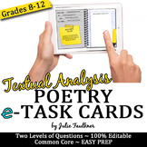 Digital Poetry Analysis Task Cards, Response to a Text, Analysis of Any Poem