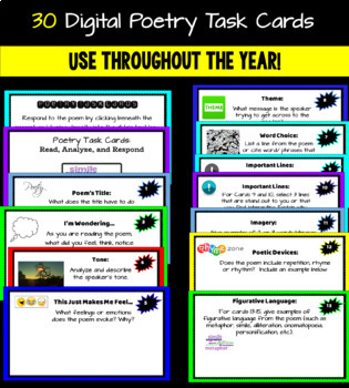 Poetry Analysis, Activities, and Comprehension Task Cards: Elements of Poetry