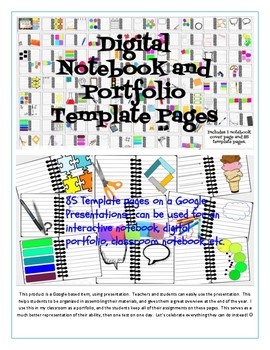 digital portfolio and interactive notebook template pages by