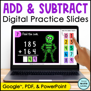 Digital Practice Sets for Addition and Subtraction - Skeleton Theme
