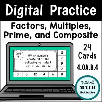 Digital Practice Slides - Factors, Multiples, Prime, and Composite