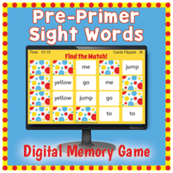 Digital Pre-Primer Sight Words Memory Game