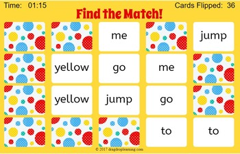 DIGITAL Sight Word Matching Game - Pre Primer