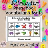Digital Preschool Vocabulary Mats (Animals & Bugs) DISTANC