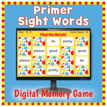 DIGITAL Sight Word Matching Game - Primer Words