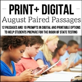 Digital & Printable August ELA Paired Passages for Upper E