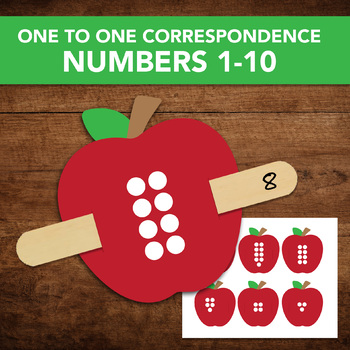 Digital Printable Montessori One to One Correspondence - Numbers 1-10 with Apple