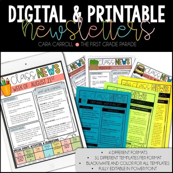 digital printable newsletters editable by cara carroll tpt