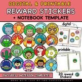 Digital & Printable Reward Stickers + Notebook template