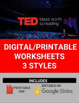 Digital/Printable TED Talk Worksheets (Editable in Google Slides)