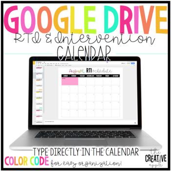 Digital RTI & Intervention Calendars for Google Drive