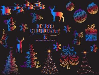 Digital Rainbow Christmas Clip Art Christmas Tree Snowflake Reindeer Ornament