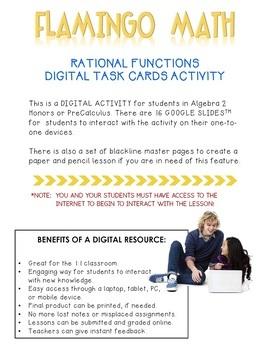 Digital Rational Functions Task Cards - GOOGLE® Edition