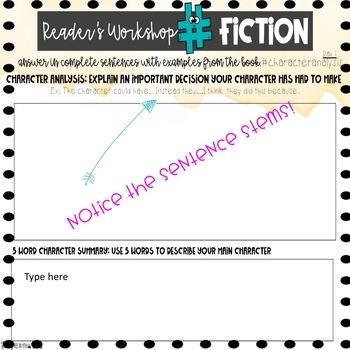 Digital Reader's Workshop Checkin Sheets for Fiction Literature