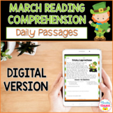 Digital Reading Comprehension Passages & Questions for Mar