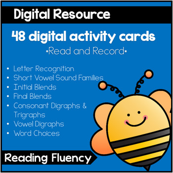 Digital Reading Fluency Cards - 48 Activity Cards - Build Fluency - Paperless!