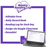 Digital Reading Log - Distance Learning - Google Forms