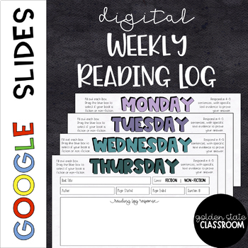 Digital Reading Log Homework  |  Google Slides
