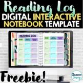 Digital Reading Log Free Interactive Notebook Template | G