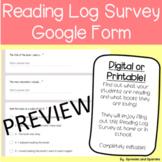 Digital Reading Log Survey - Google Form