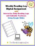 Digital Reading Log Using Google Slides With Editable Text