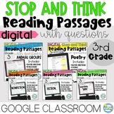 Digital Reading Passages Citing Text Evidence Google Classroom 3rd Grade Bundle