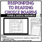 Digital & Paper Reading Response Choice Board | Distance Learning
