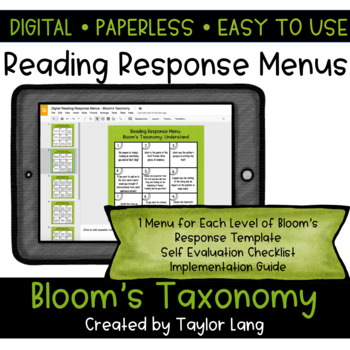Digital Reading Response Menus - Bloom's Taxonomy Edition