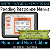 Digital Reading Response Menus - Notice and Note Edition