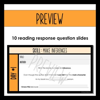Digital Reading Response Questions for Google Slides - SKILL: MAKE INFERENCES