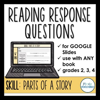Digital Reading Response Questions for Google Slides - SKILL: PARTS OF A STORY