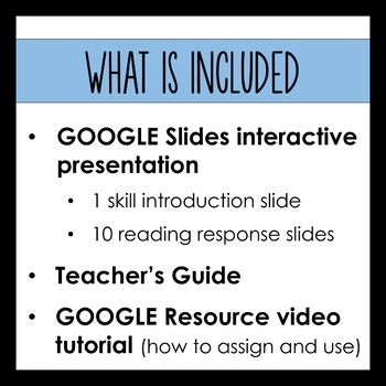 Digital Reading Response Questions for Google Slides - SKILL: SUMMARIZE