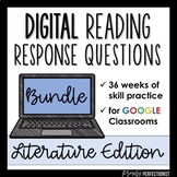 Digital Reading Response Log Questions for GOOGLE Slides BUNDLE: Literature Ed.